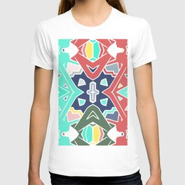 turquoise and red primary pattern T-shirt