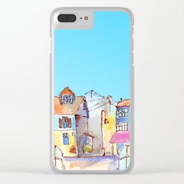 Pretty colorful houses street in old town with blue sky Clear iPhone Case
