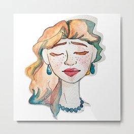 Watercolor Woman Metal Print