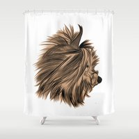 yorkie Shower Curtains featuring Burt Reynolds the Yorkie  by Rachel Barrett