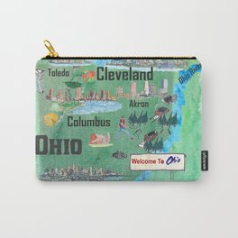 USA Ohio State Illustrated Travel Poster Map with Touristic Highlights Carry-All Pouch
