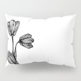 black and white flower drawing Pillow Sham