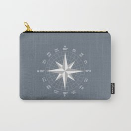 Compass in White on Slate Grey color Carry-All Pouch