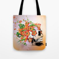 sugar skull Tote Bags featuring Sugar skull by nicky2342
