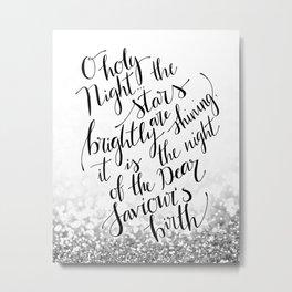 O holy night silver glitter Metal Print