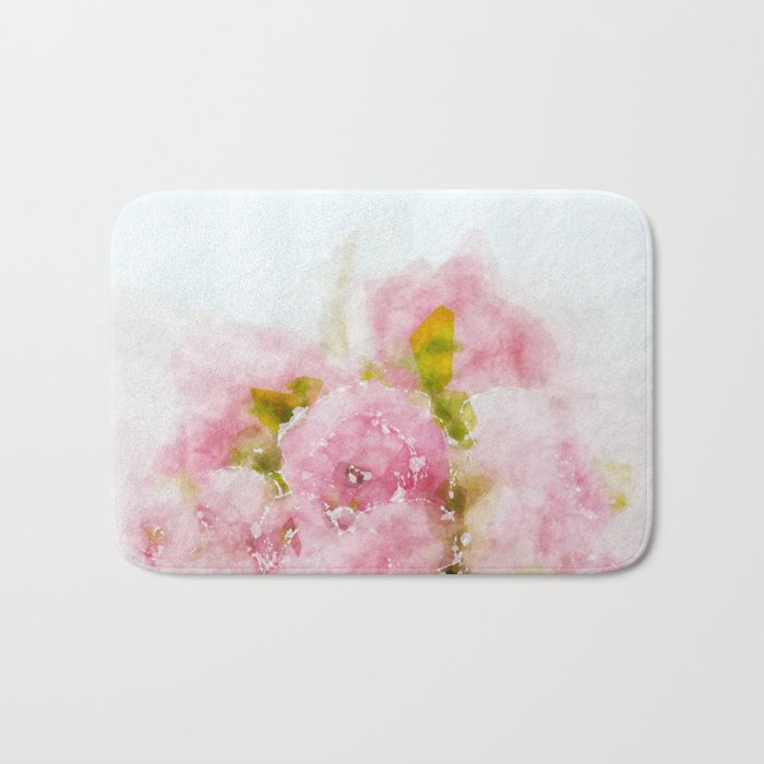 Rose treasure - Pink floral flowers on white background on #Society6 Bath Mat