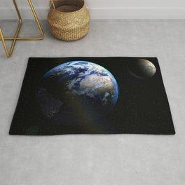 Earth and Moon Deep Space Telescopic Photograph Rug