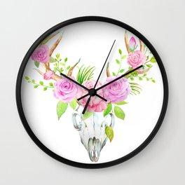 Watercolor Rose Deer Skull Art Print Wall Clock