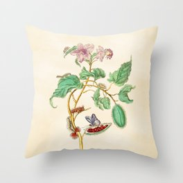 Floral watercolour with quote by Thoreau based on 17th century botanical illustration by Maria Merian  Throw Pillow