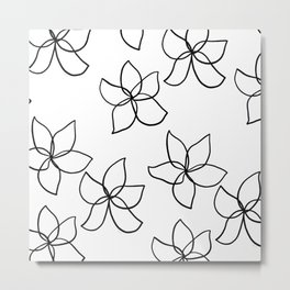 Plumeria Frangipani Tropical Flowers Summer Floral Pattern Metal Print