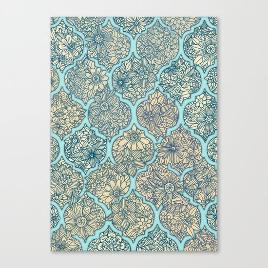 Moroccan Floral Lattice Arrangement - aqua / teal Canvas Print