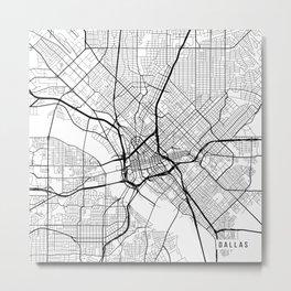 Dallas Map, USA - Black and White Metal Print