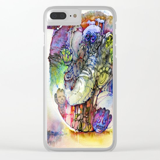 Psychedelic elephant Clear iPhone Case