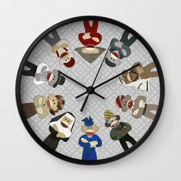 Sock Monkeys of the World Wall Clock