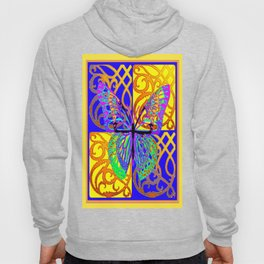 Fantasy Butterfly Art Gold-Blue Abstract Patterns Hoody