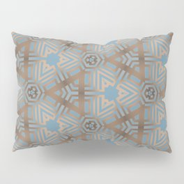 Beige and Blue Contemporary Tribal Pattern Pillow Sham