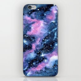 Twinkling Pink Watercolor Galaxy iPhone Skin