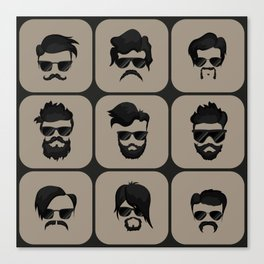 mustache, beard and hairstyle hipster Canvas Print