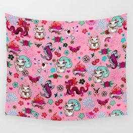 Lucky Cat Maneki Neko , Dragons and Koi fish On Pink Wall Tapestry