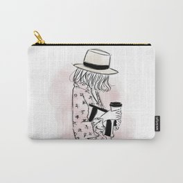 Casual young girl wearing hat and floral dress, clutch bag and a cup of coffee ready to hustle Carry-All Pouch