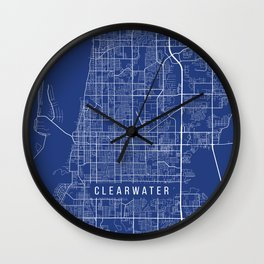 Clearwater Map, USA - Blue Wall Clock