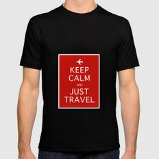 Keep Calm and Just Travel MEDIUM Mens Fitted Tee Black