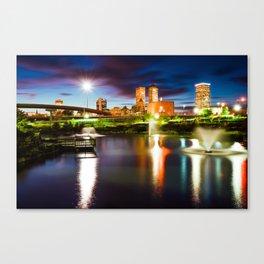 Centennial Park Lake and the Tulsa Skyline at Dusk Canvas Print