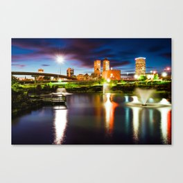 Centennial Park Lake and the Tulsa Skyline at Dusk Canvas Print