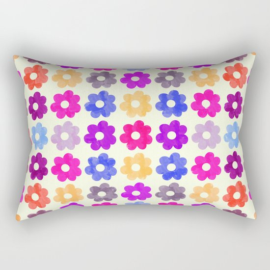 Colorful Floral Pattern II Rectangular Pillow