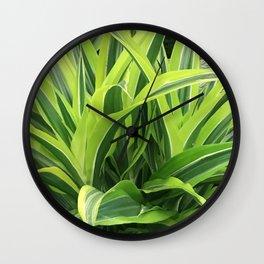 Exotic Lush Green Leaves Wall Clock