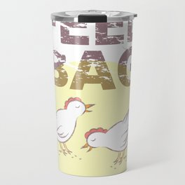 "FEED BAG ""Cluck Cluck"" Color Kitchen Print Travel Mug"