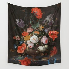 Abraham Mignon - Still life with flowers and a watch - 1660/1679 Wall Tapestry