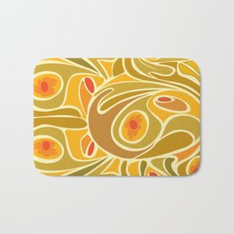 Rooster pattern in Yellow Goldenrod Bath Mat