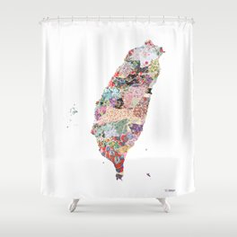 Taiwan map portrait Shower Curtain