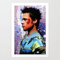 brad pitt Art Prints featuring Brad Pitt Art Poster by NLopezArt