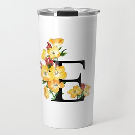 Letter 'E' Evening Primrose Flower Monogram Typography Travel Mug