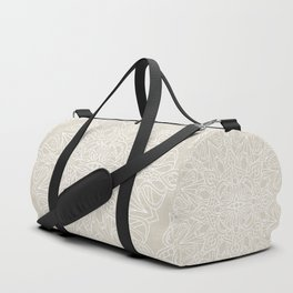 White Lace Mandala on Antique Ivory Linen Background Duffle Bag