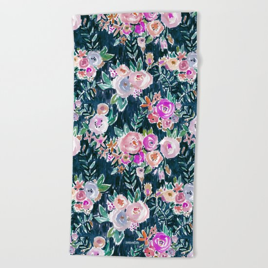 Midnight PROFUSION FLORAL Beach Towel