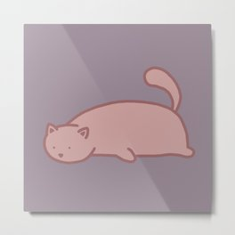 Big Round Cat Number 2 – Lazy Version Metal Print