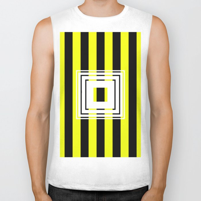 Bumblebee Box - Geometric, bold, yellow and black striped design Biker Tank