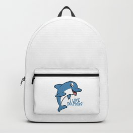 """Fantastic and fabulous gift to your friends and family! Grab this """"I Love Dolphins"""" tee design now!  Backpack"""