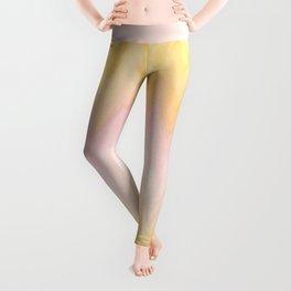 Modern hand painted pink yellow watercolor chevron ikat Leggings