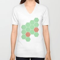 honeycomb V-neck T-shirts featuring Mint Honeycomb by Cassia Beck