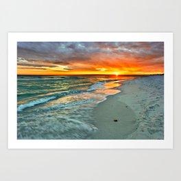 Orange Sunset Green Waves Beach Fine Art Prints Art Print