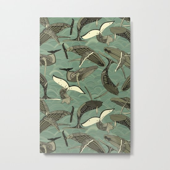 whales and waves aqua Metal Print