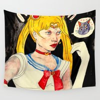 sailor moon Wall Tapestries featuring sailor moon by withapencilinhand