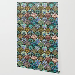 Colorful floral seamless pattern from circles with mandala in patchwork boho chic style Wallpaper
