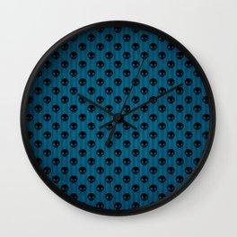 Blue & Black Skulls Wall Clock