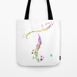 Letter T watercolor - Watercolor Monogram - Watercolor typography - Floral lettering Tote Bag