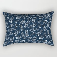 White Leaves on Navy - a hand painted pattern Rectangular Pillow